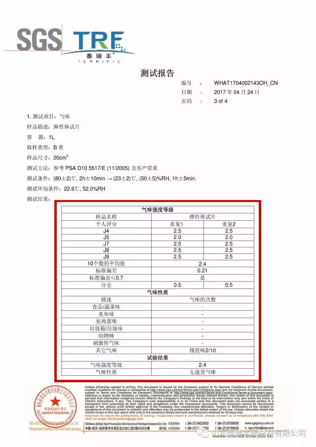 雷竞技app官网tpe气味强度检测报告